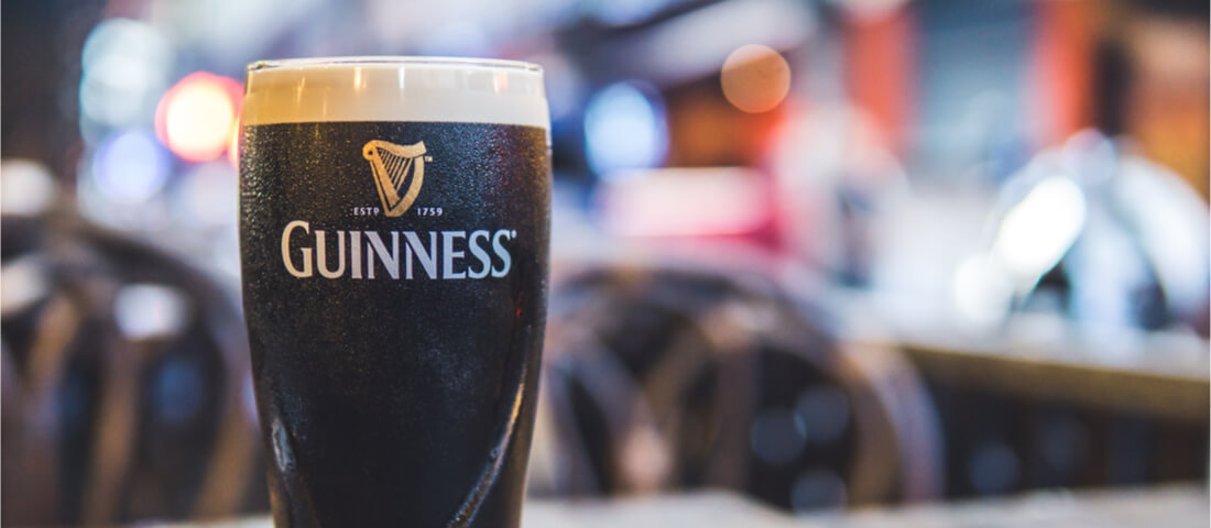 Full Guinness glass
