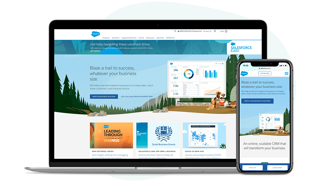 Screenshot of the Salesforce homepage