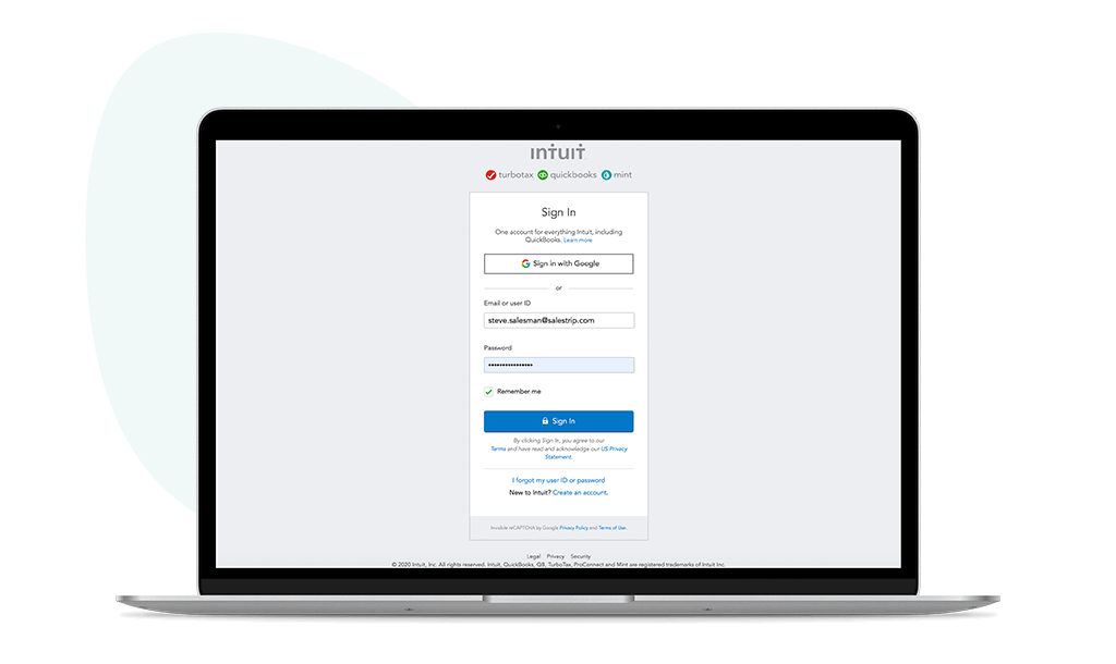 Intuit Quickbooks login screenshot