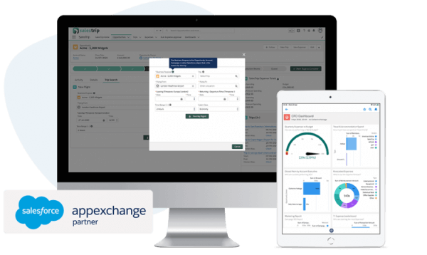 Small version of AppExchange logo with SalesTrip screenshots of flight search and CFO dashboard