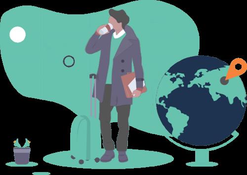 Illustration of traveller and globe