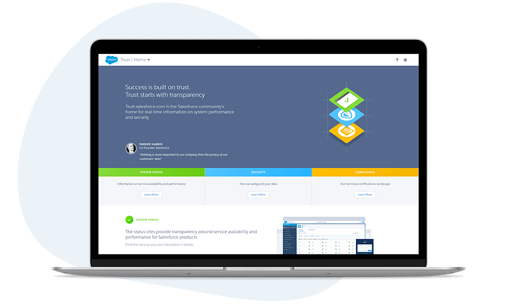 Screenshot of Salesforce trust webpage
