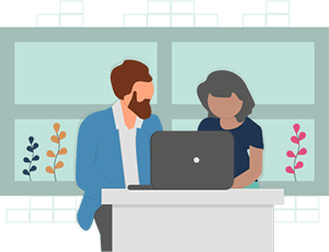 Illustration of two people sitting together on a laptop